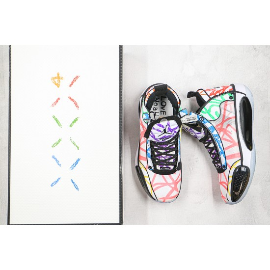 Zion Williamson x Air Jordan 34 PE Noah White Rainbow DA1897-100