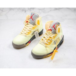 "Off-White x Air Jordan 5 ""Sail"" Yellow White DH8565-100"